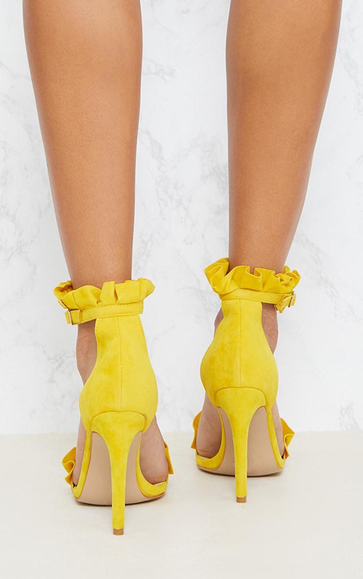 Bright Yellow Frill Strap Heels 4