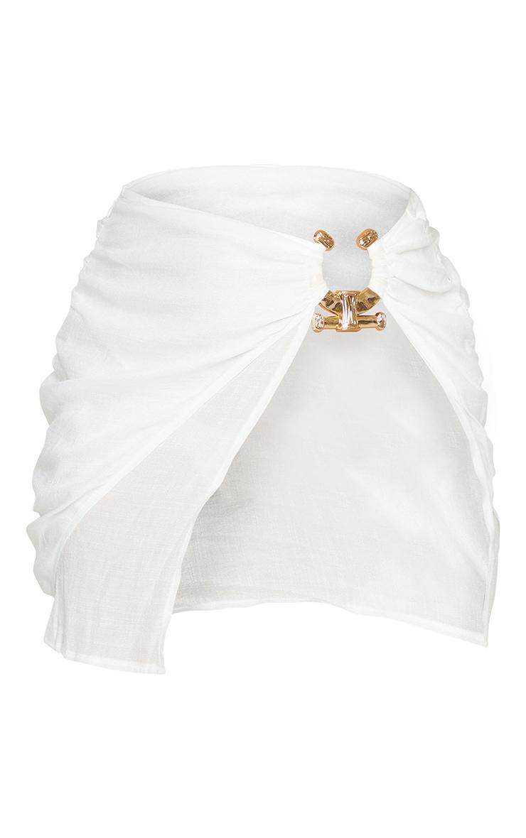 White Linen Look Hammered Trim Beach Skirt 6