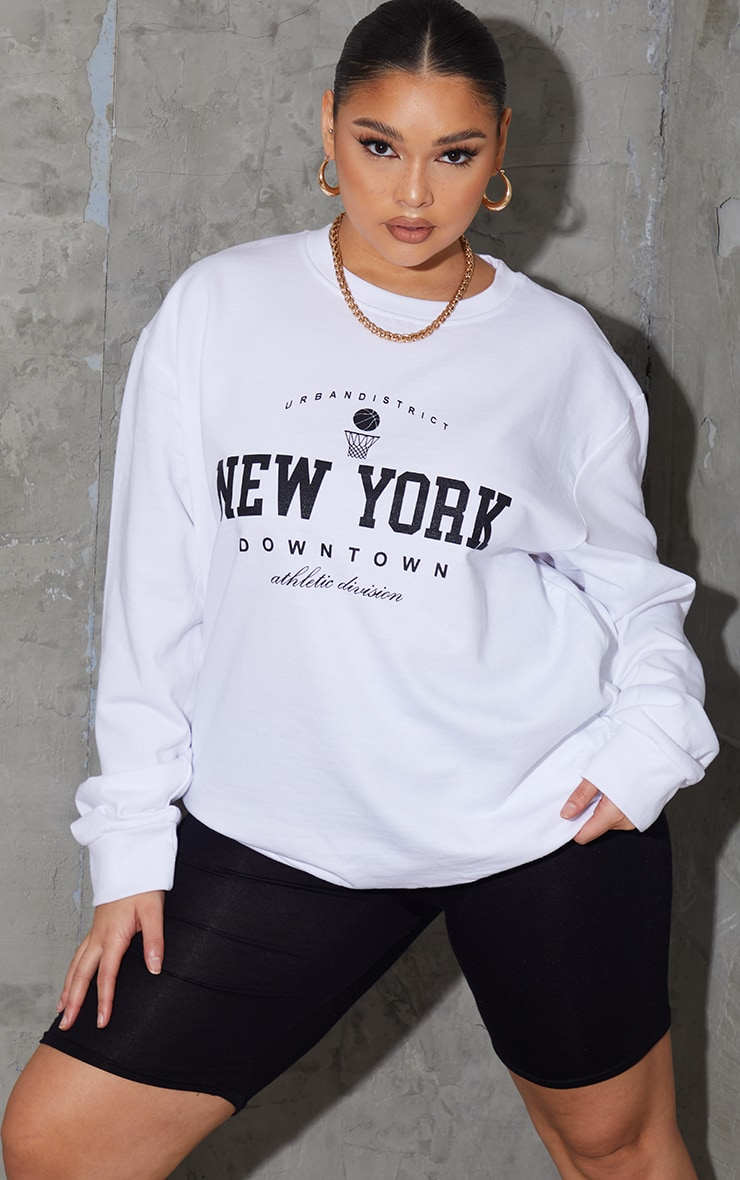 Plus White New York Downtown Slogan Printed Sweatshirt 1
