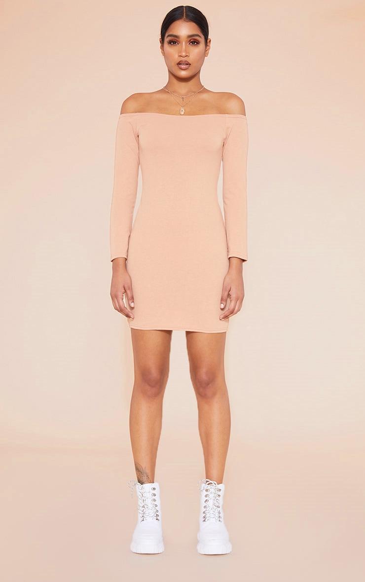 RECYCLED Pale Tan Bardot Bodycon Dress 4