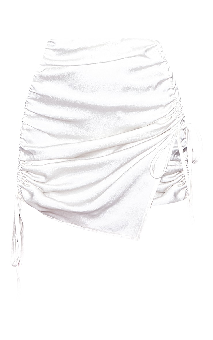 Cream Hammered Satin Ruched Detail Mini Skirt 6