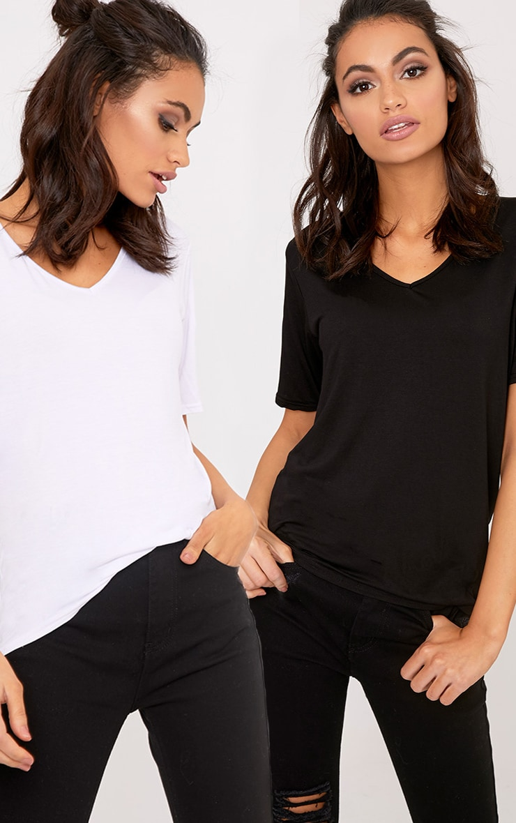 Basic Black & White V Neck T Shirt 2 Pack 1