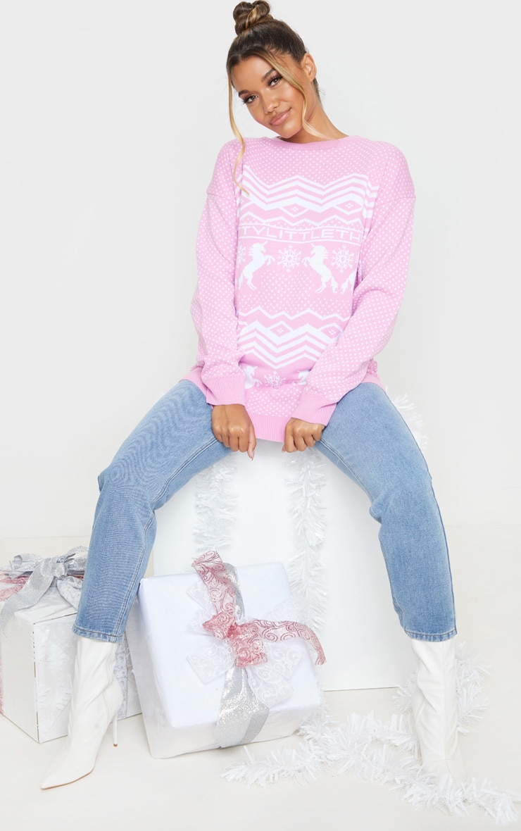 PRETTYLITTLETHING Pink Christmas Unicorn Print Jumper 4