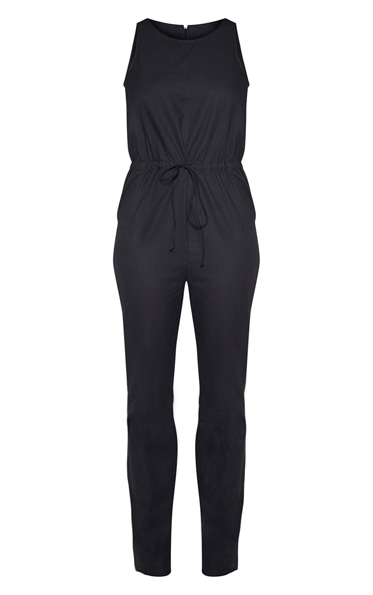 Tall Black Casual Tie Waist Straight Leg Jumpsuit 3
