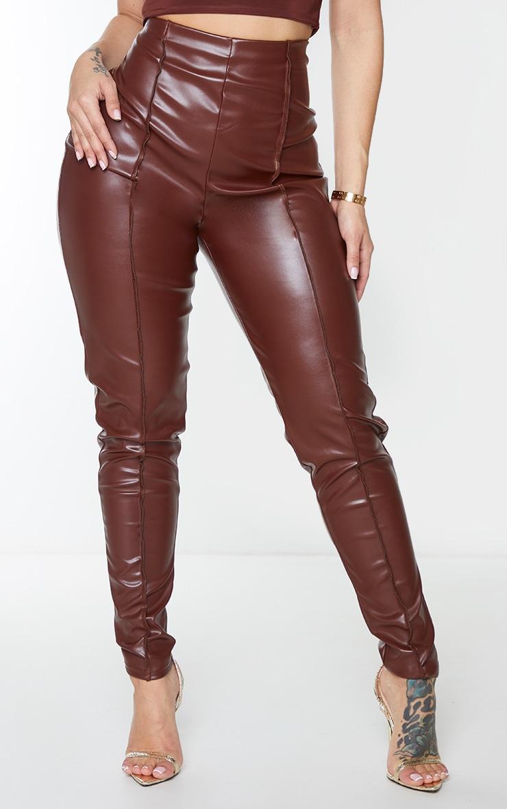 Shape Chocolate Brown PU Seam Detail High Waist Trousers 2