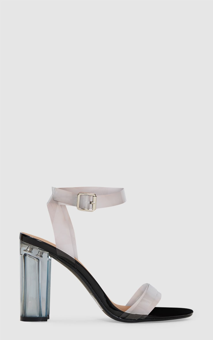 Black Clear Block Heel Sandal 3