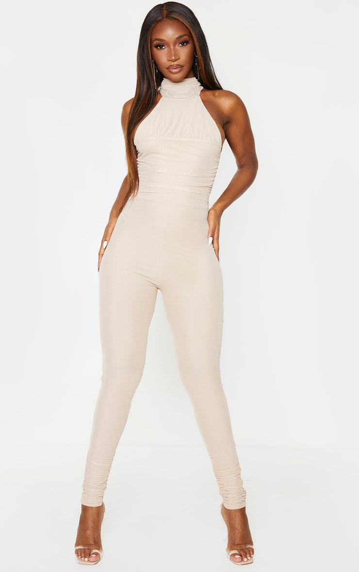 Stone Ruched Mesh High Neck Jumpsuit 1