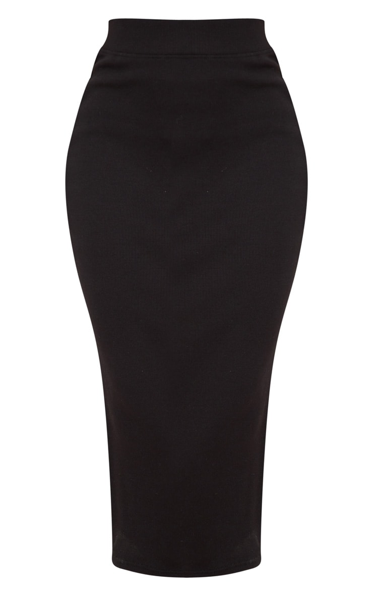 Black Structured Rib Bodycon Midaxi Skirt 3