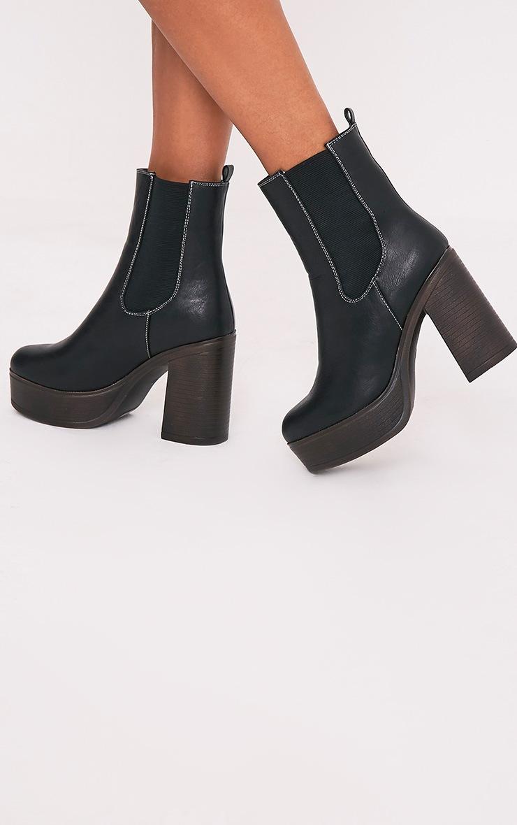 Shana Black PU Wooden Platform Ankle Boots 2