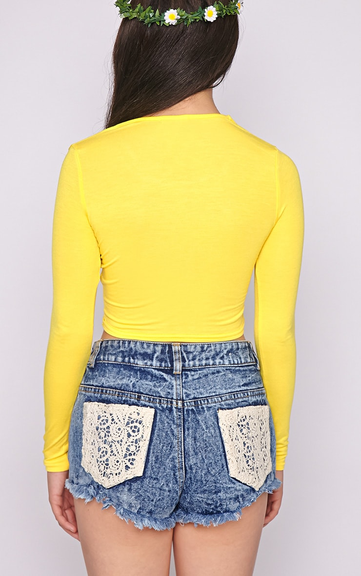 Suzy Yellow Long Sleeved Crop Top  2
