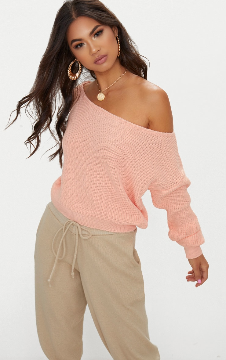 Tangerine Off The Shoulder Crop Jumper