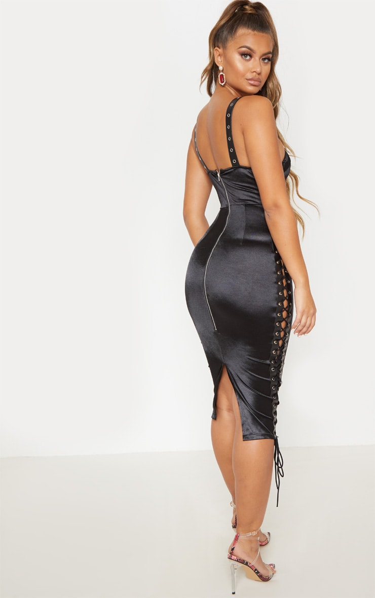Black Satin Eyelet Detail Lace Up Midi Dress  3
