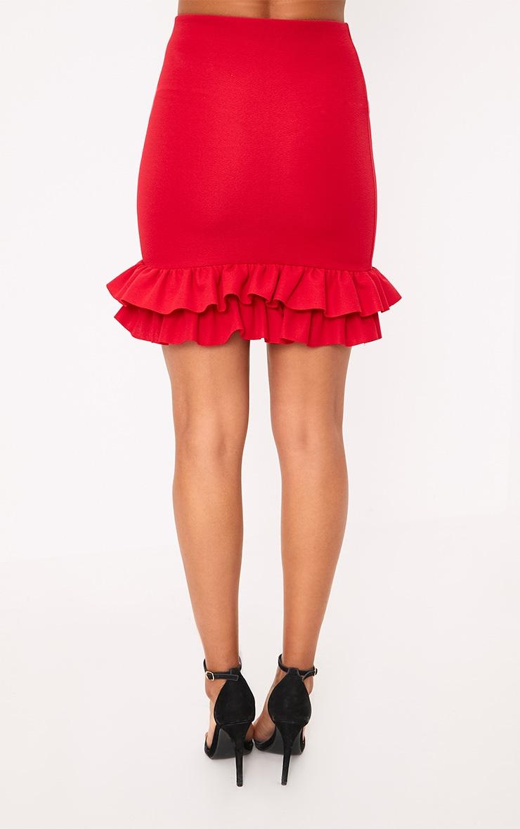 Rhya Red Double Frill  Hem Mini Skirt  4