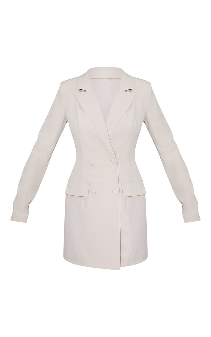Stone Shoulder Pad Button Blazer Dress 5