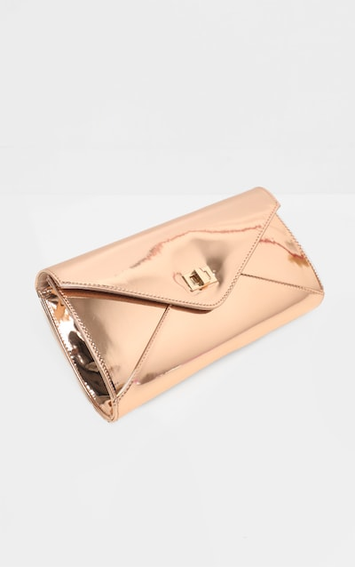 Rose Gold Metallic PU Twist Lock Clutch Bag