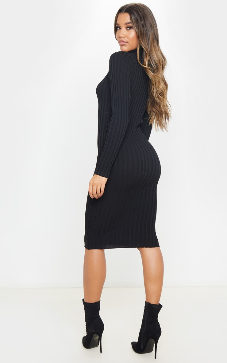 Black Stretch Knitted Bodycon Midi Dress 2