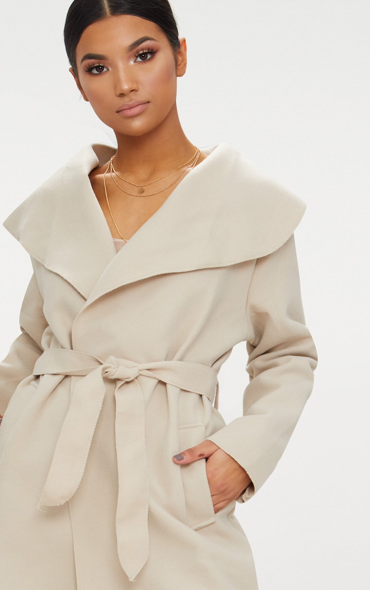 Veronica Beige Oversized Waterfall Belt Coat 6