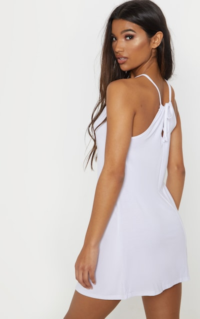 Basic White Ruched Halterneck Shift Dress