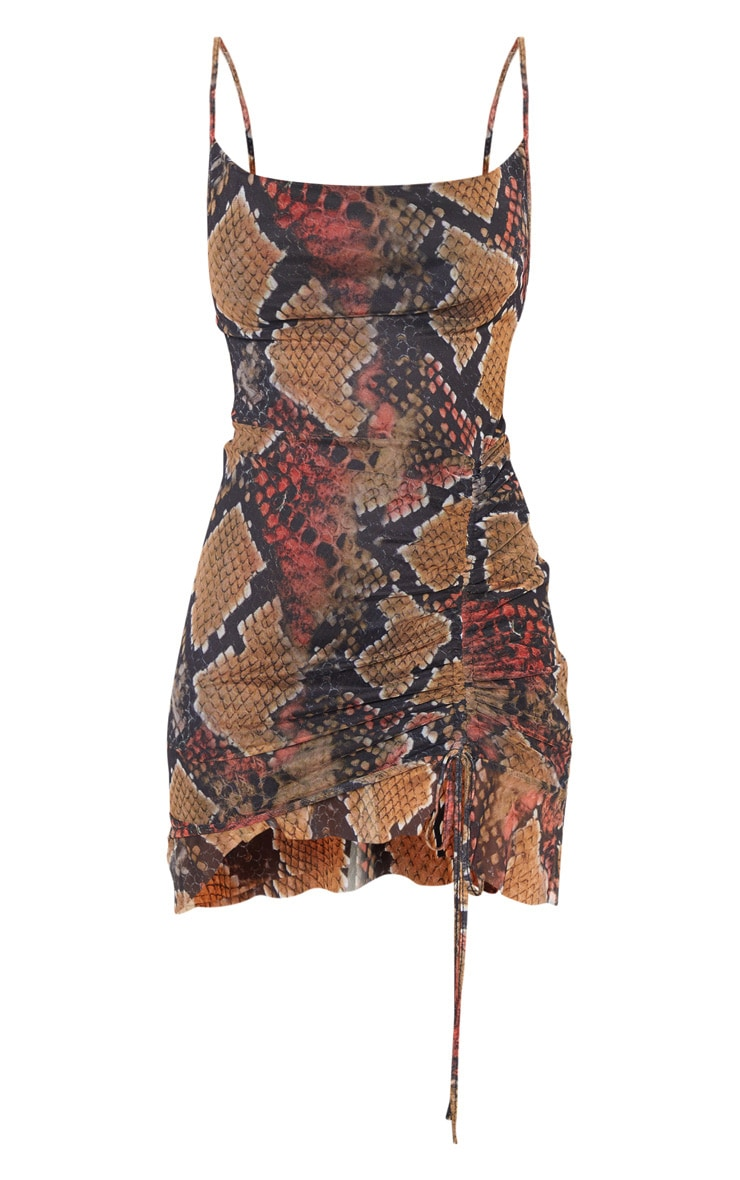 Multi Mesh Snake Print Ruched Bodycon Dress 3