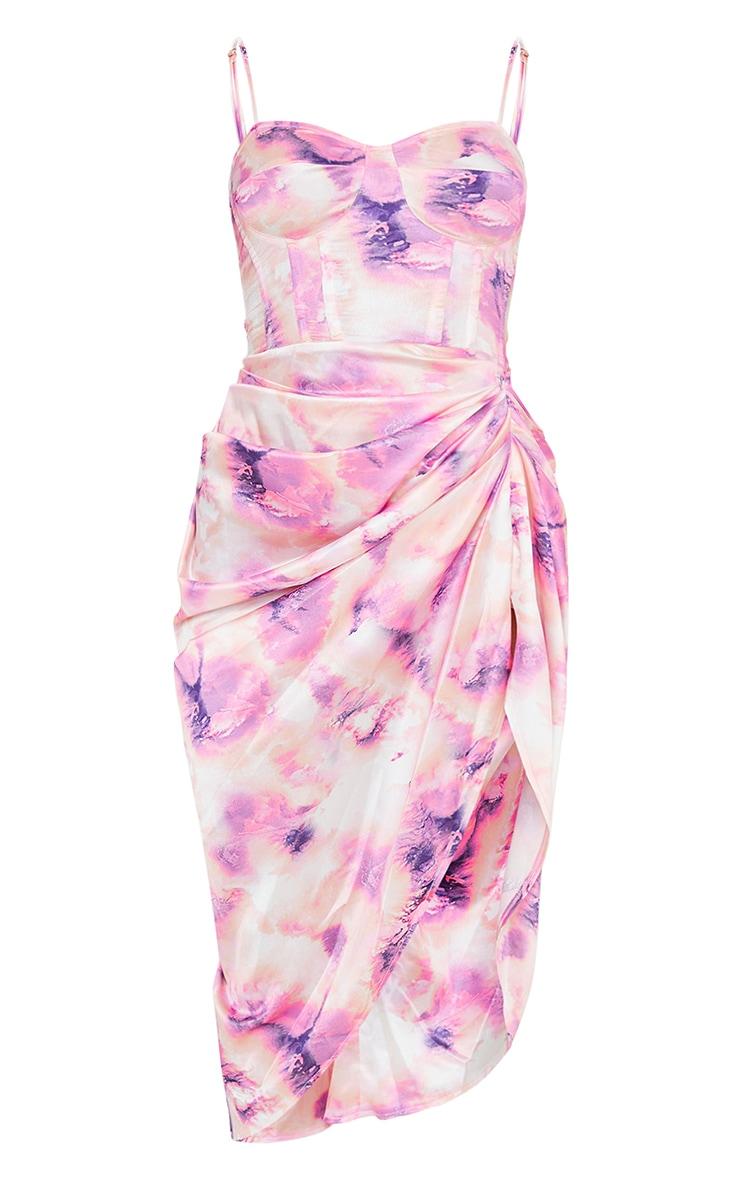Robe satinée mi-longue à corset et jupe froncée lilas imprimé tie & dye 5
