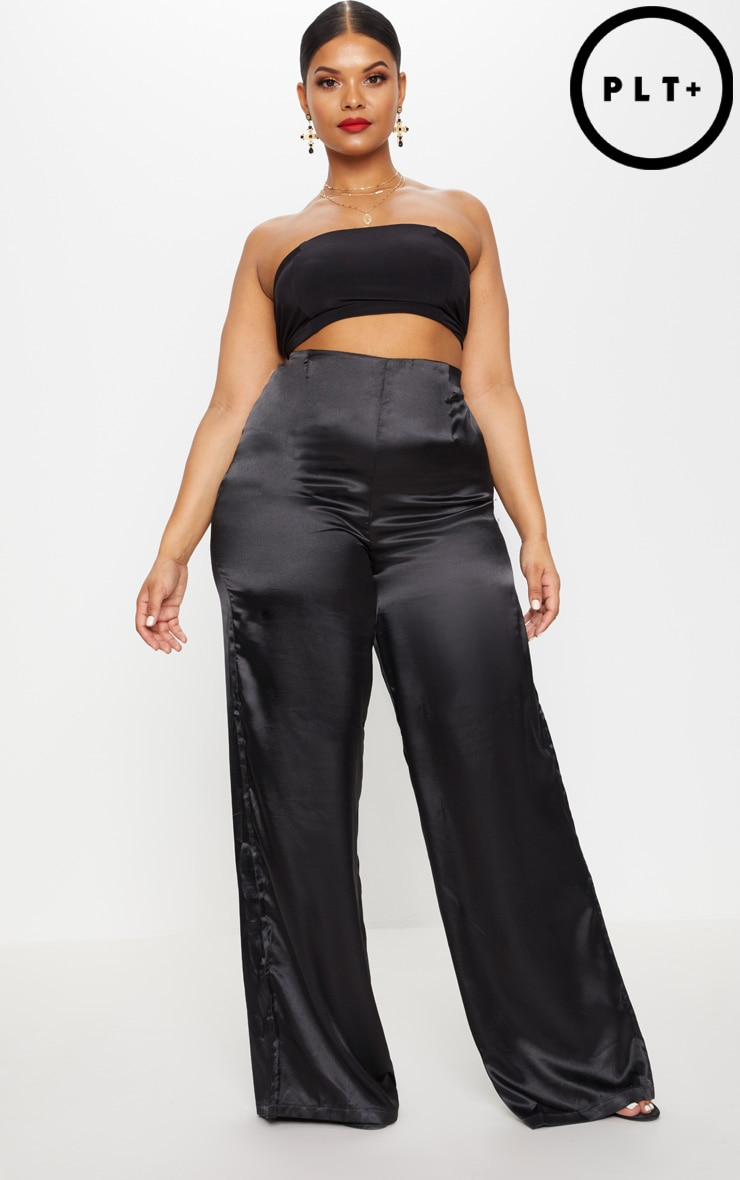Plus Black Satin Wide Leg Trousers 1