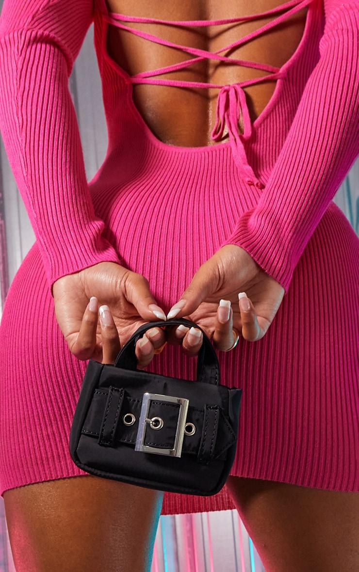Black Buckle Detail Mini Bag 1