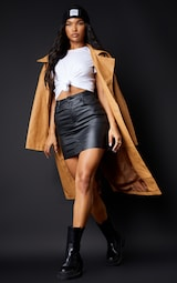 Black Coated Denim Extreme Mini Skirt 1