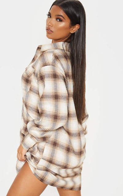 Beige Check Pocket Detail Long Sleeve Shirt Dress