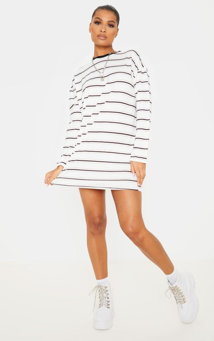 White Contrast Stripe Long Sleeve T Shirt Dress 1