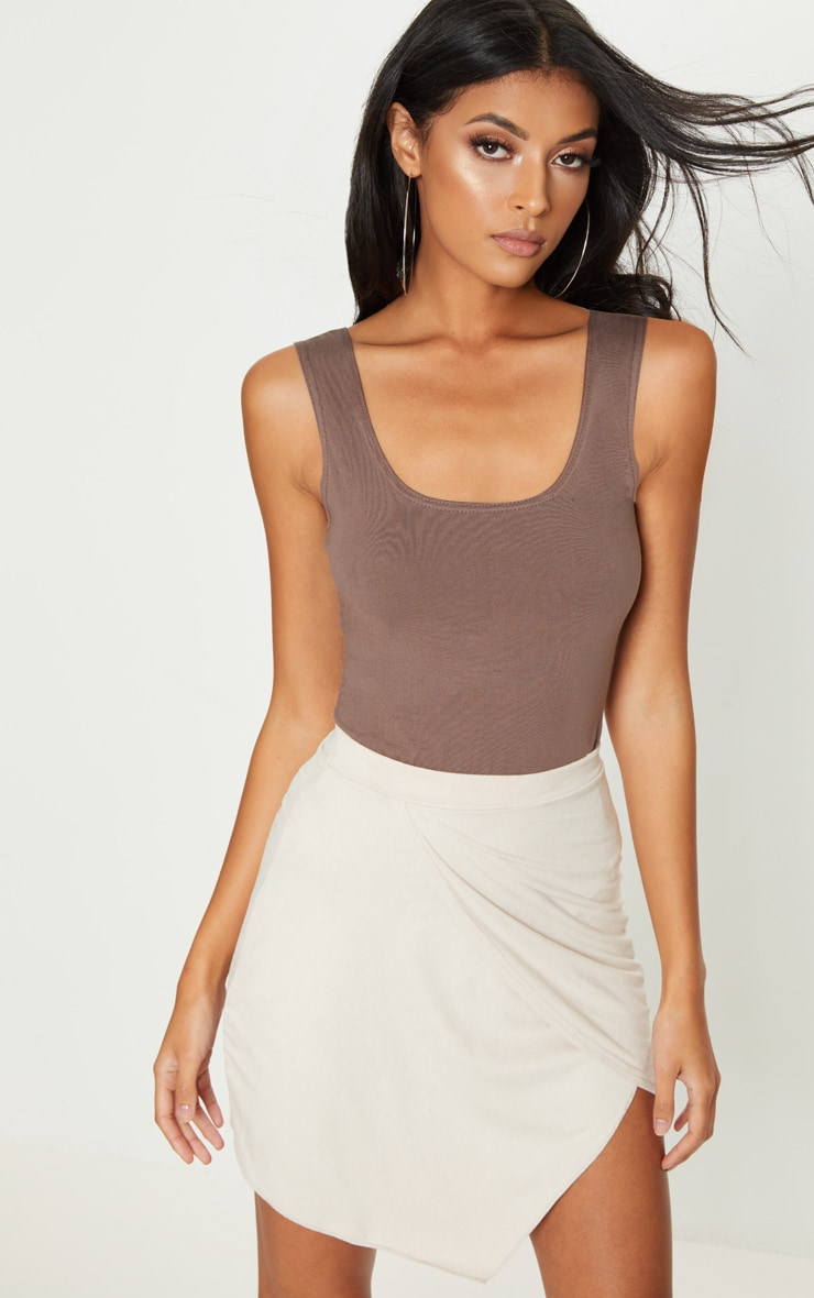 Nude Faux Suede Wrap Over Mini Skirt 1