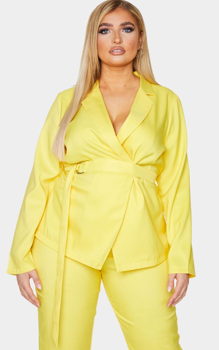 Plus Bright Yellow Woven Belt Detail Blazer 1