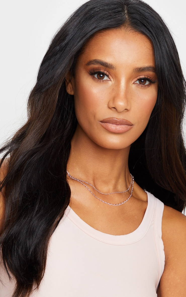 Rose Gold Delicate Double Chain Necklace 2