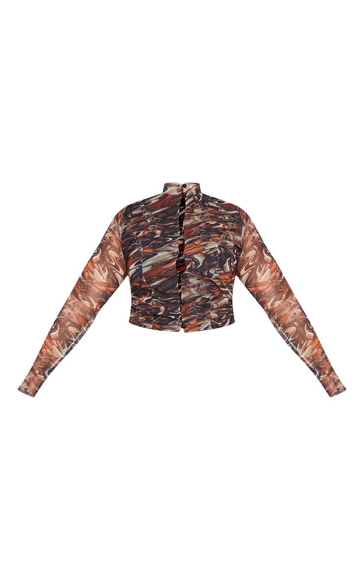 Plus Brown Print Mesh High Neck Button Front  Long Sleeve Top 5
