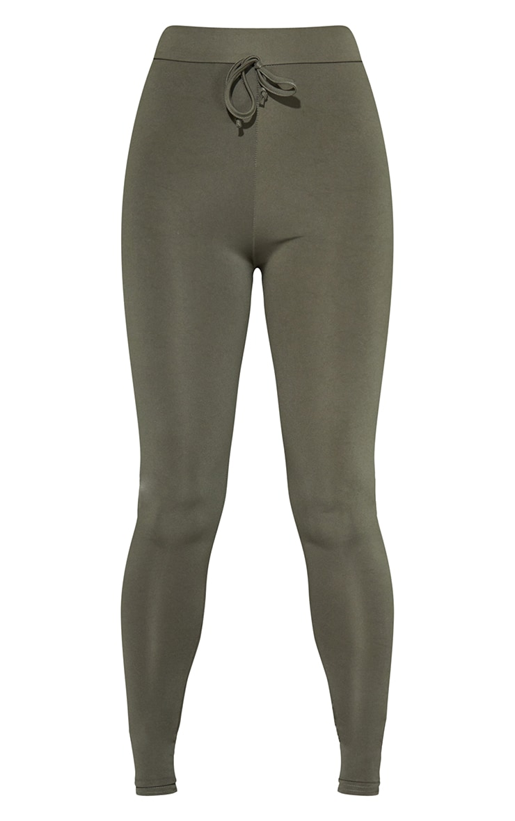 Khaki Tie Front Sports Leggings 5