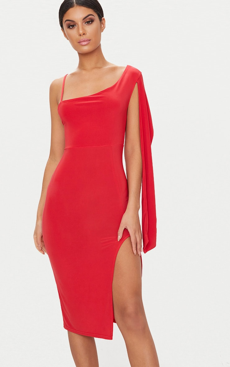 3f75a7a79 Red Slinky One Shoulder Drape Sleeve Midi Dress image 1