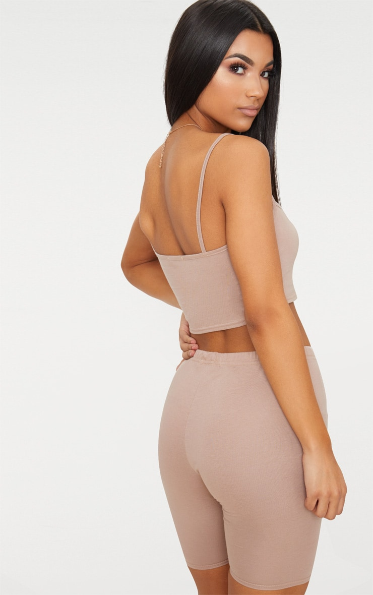 Taupe Jersey Square Neck Crop Top 2