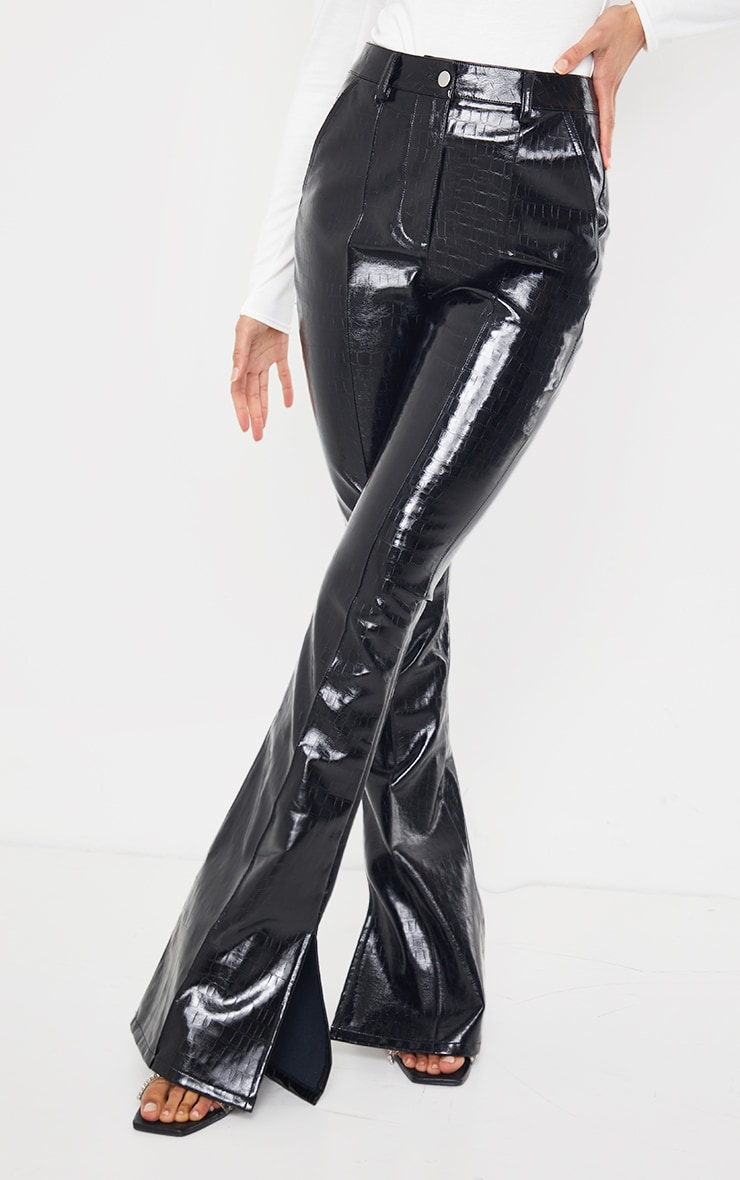 Black Croc Faux Leather Flared Trousers 2