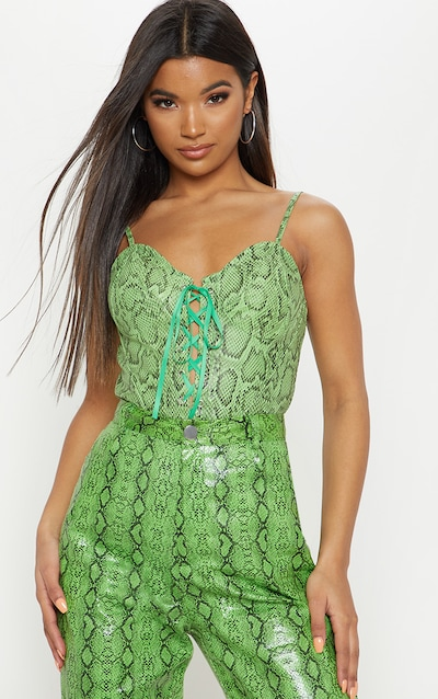 Neon Green Snake Print Lace Up Bodysuit ac14c4f16