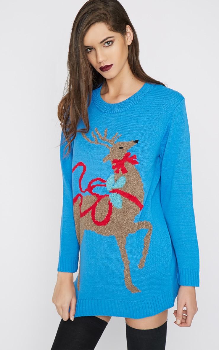 Noel Blue Reindeer Print Jumper-M/L 2