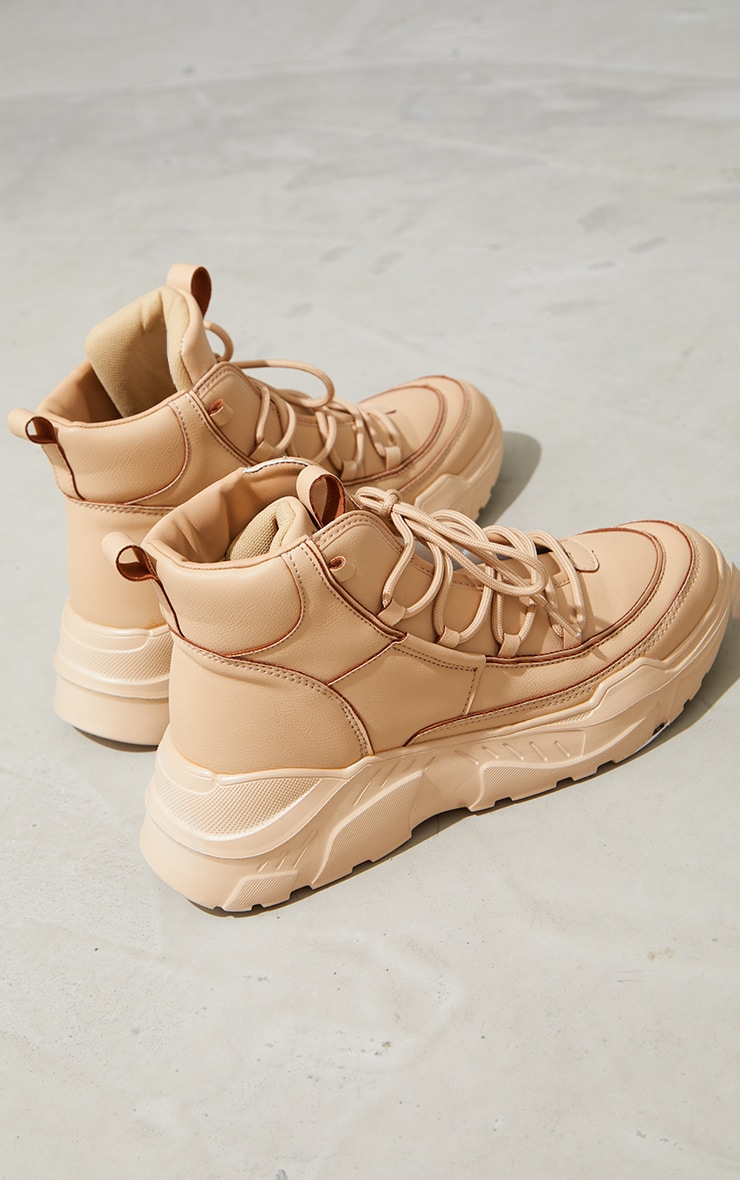 Taupe PU Extreme Chunky Hiker Sneakers 3