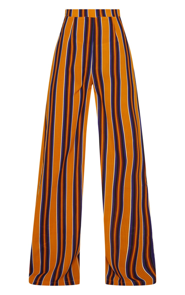 Petite Mustard Striped Wide Leg Trousers 3