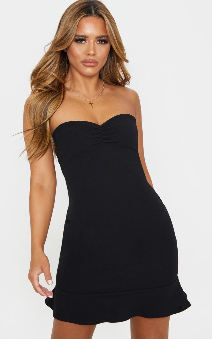 Petite Black Bardot Flippy Hem Bodycon Dress 1