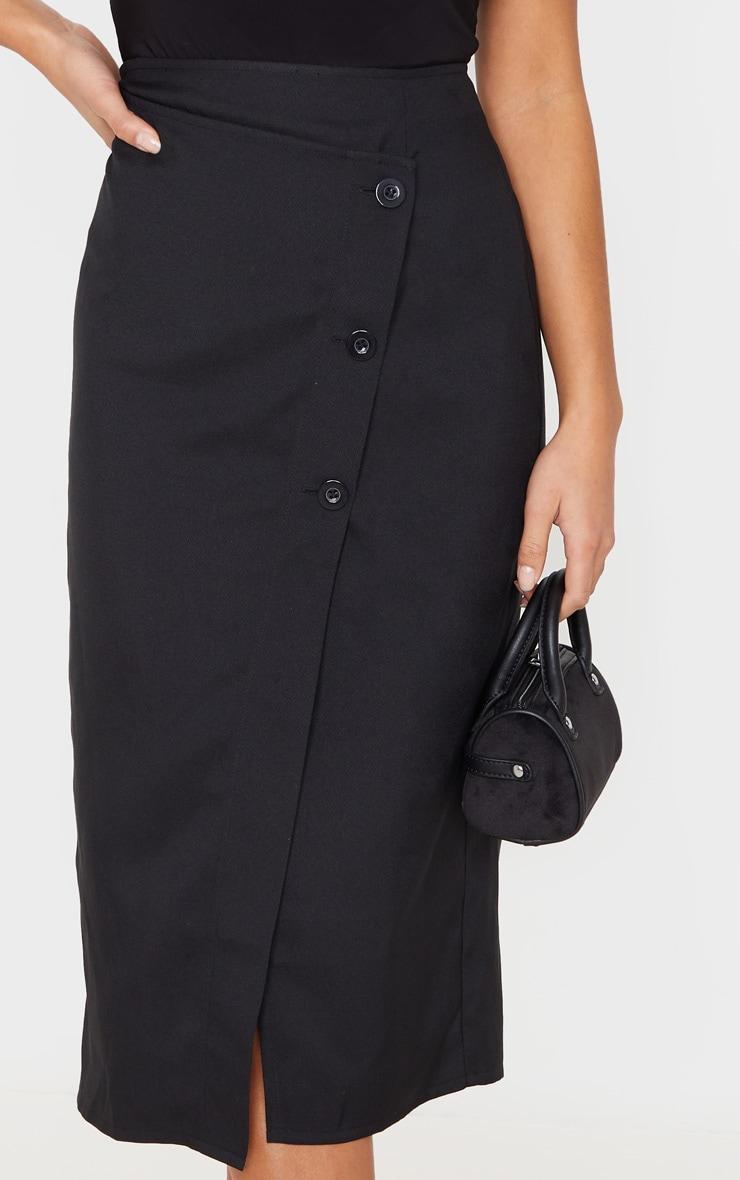 Petite Black Button Midi Skirt 5