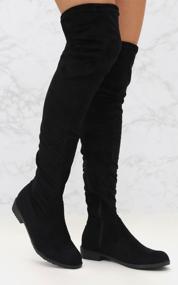 Black Suede Flat Thigh High Boot 1