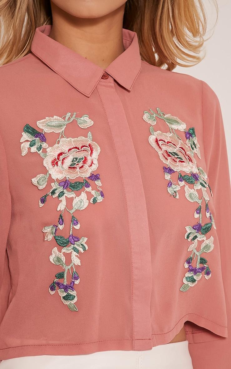 Esther Blush Embroidered Cropped Chiffon Shirt 5