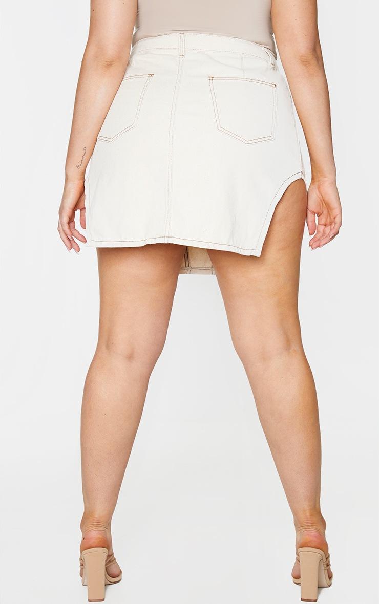PLT Plus - Jupe en jean écru à coutures contrastantes et ourlets fendus 3