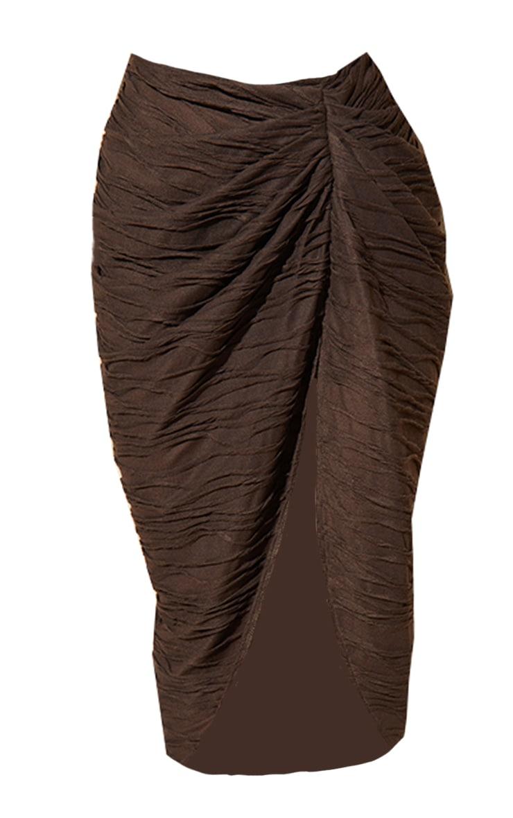 Brown Textured Knot Detail Split Side Midi Skirt 5
