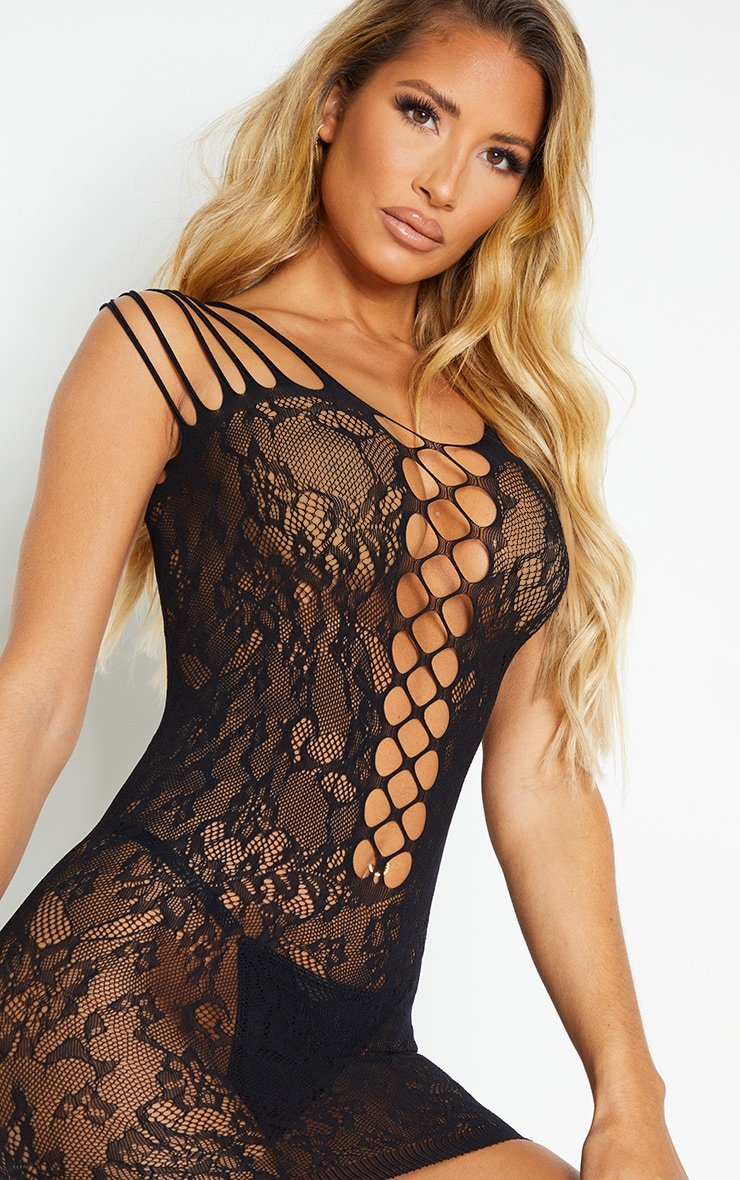 Black Strappy All Over Lace Body Stocking 4