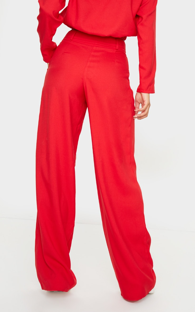 Red Woven Wide Leg Pants 3