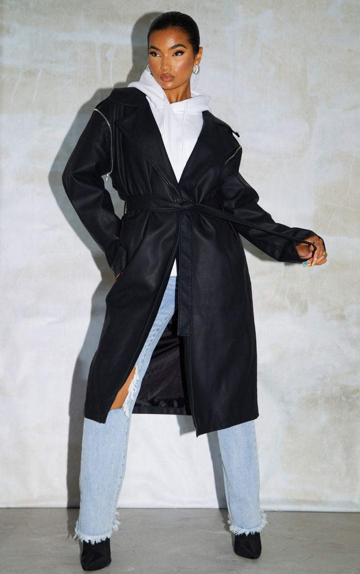 Black Faux Leather Removable Sleeves Trench 1